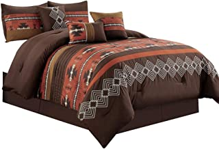 7 Piece Western Southwestern Native American Design Comforter Set Multicolor Spice Brick/Coffee Brown Embroidered King Size Bed in a Bag Navajo Bedding Set- Makala (Spice Brick, King)
