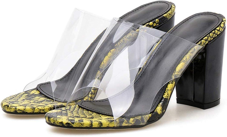SommarPlattform 8Cm 8Cm 8Cm High klackar Block Tjocka klackar Gula sandaler Chunky Slinders Kvinnliga Slippers Transpare Muls skor  rabatter och mer