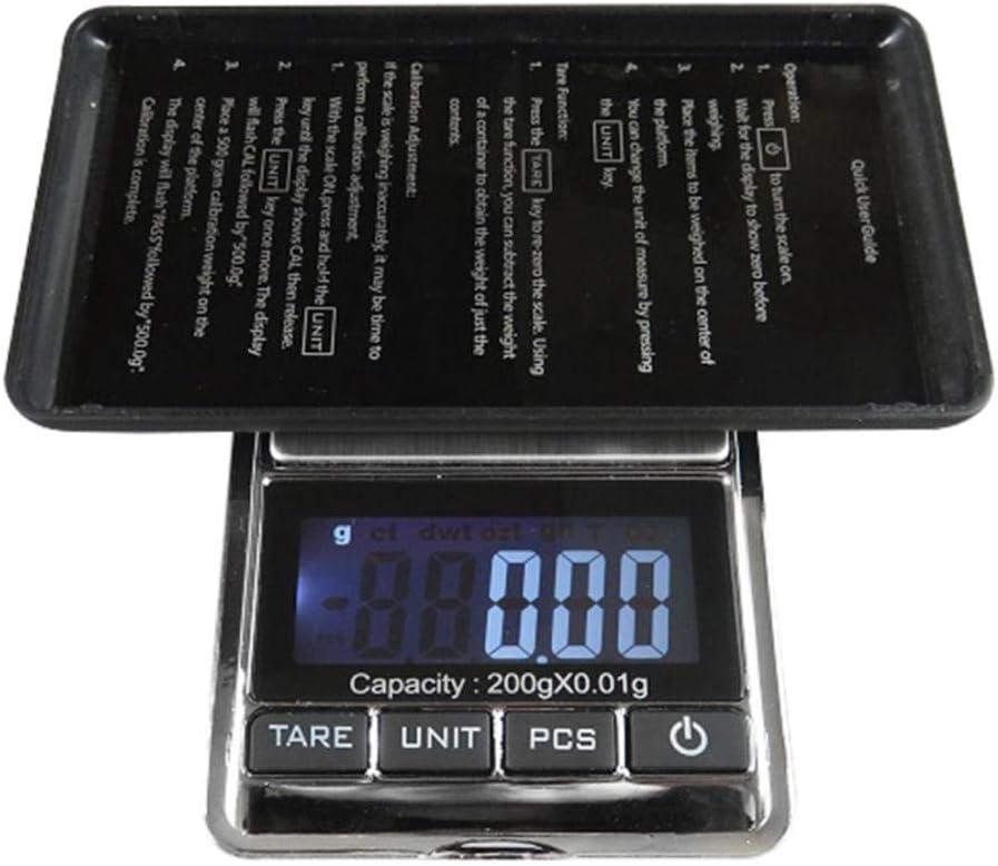 GPWDSN báscula Digital portátil, báscula para Alimentos Mini básculas Digitales de precisión 200G / 500G X 0.01G para Joyas de Oro Bijoux Sterling Jewelry Diamond Silver Scale 0.01 Weight Electroni