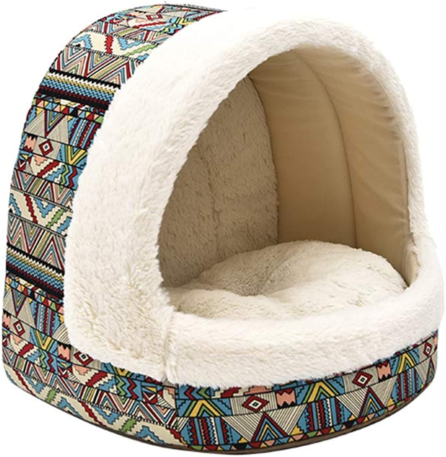 Cat Nest,Autumn and Winter Closed Warm Cat Litter Fashion Yurt Cat House35×40×37cm