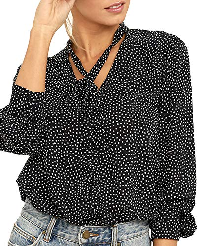 SUNNYME dames blouses lange mouwen Tops Herfst Casual Polka Dots Shirts Blouse
