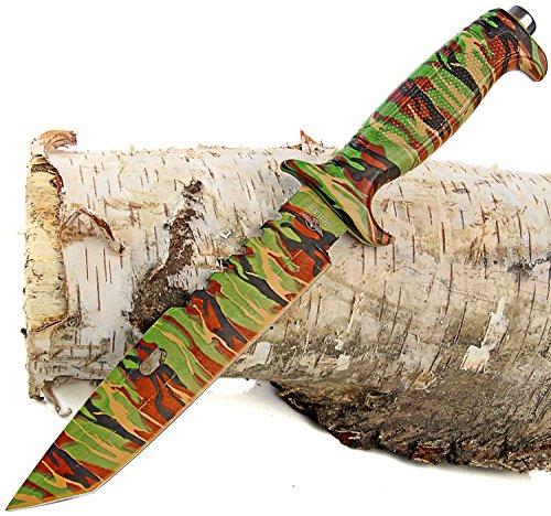 Nerd Clear jachtmes camouflage tanto lemmet camping mes riemmes vismes outdoor en survival incl. riemholster 34,5 cm