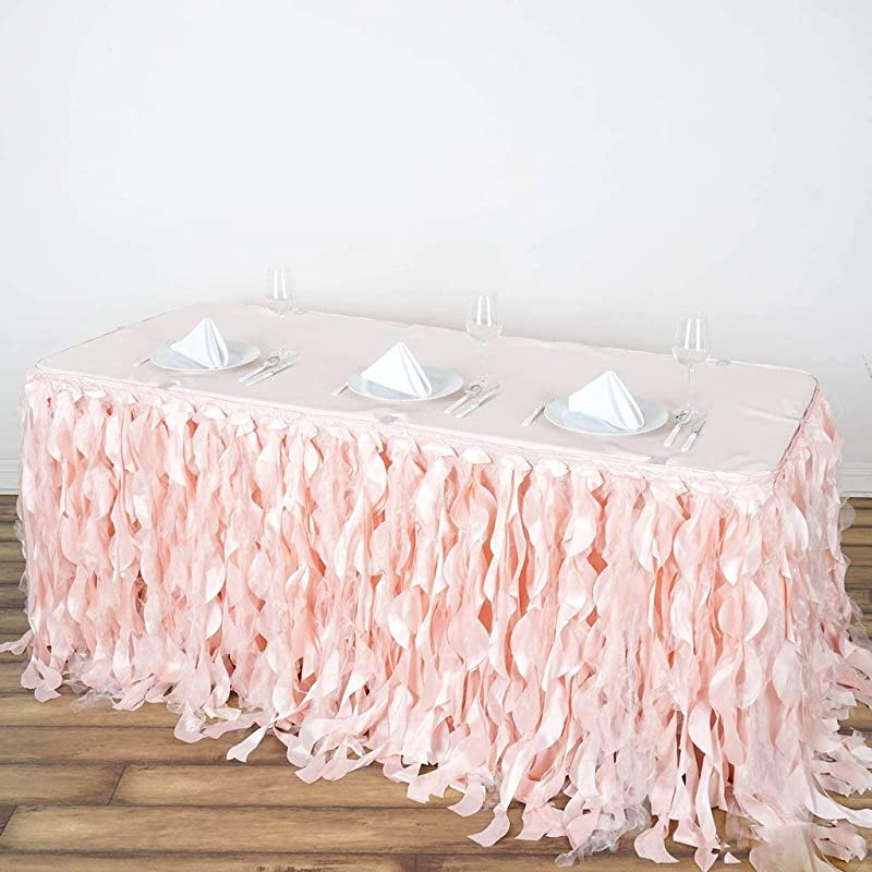 Efavormart 21ft Enchanting Curly Willow Taffeta Table Skirt For Kitchen Dining Catering Wedding Birthday Party Events Blush