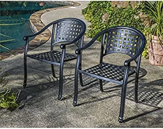 Alfresco Home Milano Stackable Cafe Chairs in London Black, Set of 2