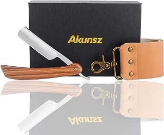 AKUNSZ Straight Razor Kits Men Cutthroat Shaving Razor with Leather Strop - One-Piece Pearwood Handle