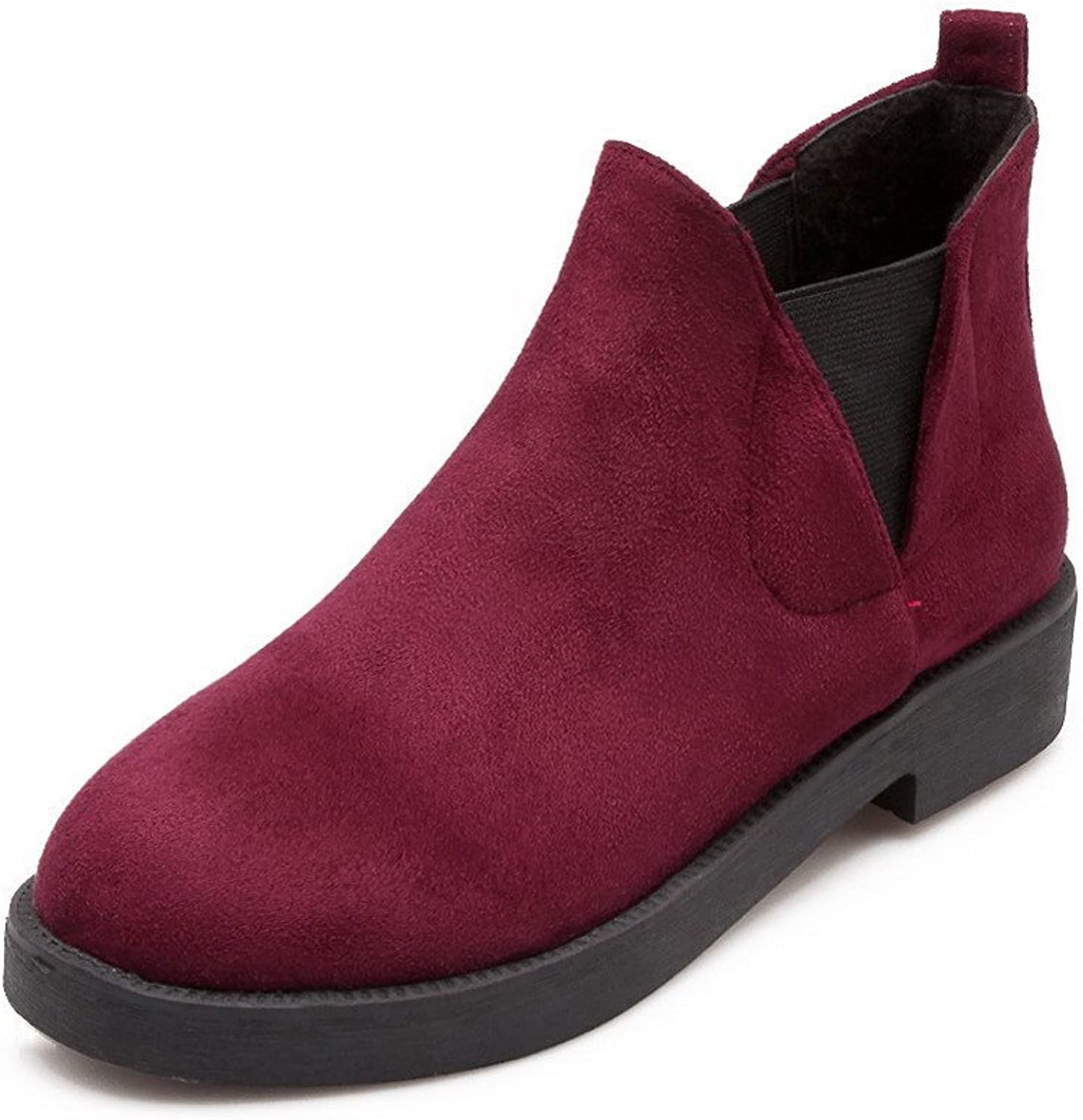 WeenFashion Women's Pull-on Round Closed Toe Low Heels Imitated Suede Low-top Boots