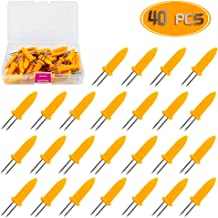Bignc 40pcs Stainless Steel Corn Holders Corn on The Cob Skewers Fruit Fork for Home Cooking,Party and BBQ