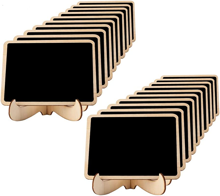 Mini Chalkboards Place Cards 3 94 X 2 95 Inch With Easel Stand And Erasable Chalk For Weddings Party Supplies Table Numbers Food Signs And Special Event Decoration 20 Sets