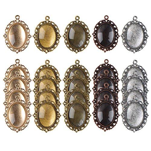 25 Piezas Bases de Colgante de Colores Variados Biseles Ovales y 25 Piezas Cabujones de Cristal Azulejos de Cúpula, Totalmente 50 Piezas