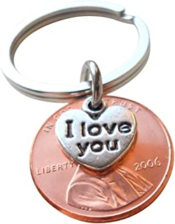 I Love You Heart Charm Layered Over 2006 Penny Keychain, 13 year Anniversary Gift, Birthday Gift, Couples Keychain