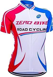 Camiseta de ciclismo de manga corta con cremallera para mujer de Zerobike®, de secado rápido, prenda deportiva y transpirable