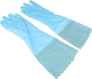 Baosity Strong Rubber Latex Gloves Household Velvet Lined Washing Gloves