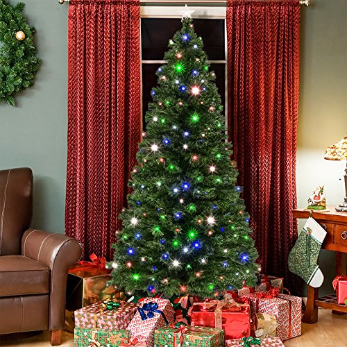 Best Choice Products 7-Foot Pre-Lit Fiber Optic Artificial Christmas Pine Tree with 280 UL-Certified 4-Color LED Lights, 8 Sequences, Foldable Stand, Green