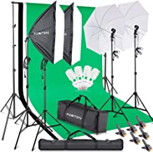 FOSITAN 2.8M x 3M/9.2ft x 9.8ft Photo Backdrop Stand kit Photography Softbox Lighting Kit Photo Lighting Studio kit Background Support System 800W 5500K Umbrella with 2M Stand for Photo Video Shooting