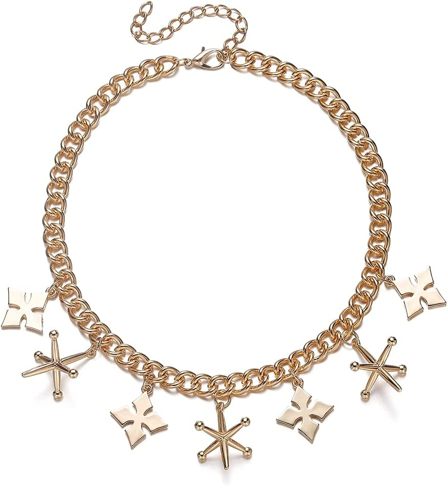 GAUBU88 Star Charms Short Choker Necklace Birds Of Prey Harley Quinn Pendant Punk Jewelry Party Gold Chain Y Lariat Necklace Women Gift