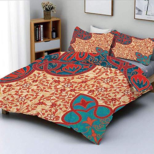 Qoqon Bettbezug-Set, Florale arabeske Motive mit antiken antiken traditionellen kulturellen ElementenDekoratives 3-teiliges Bettwäscheset mit 2 Kissenbezügen, Rot, Gelb, Blau, Kinder \u0