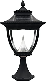 Gama Sonic GS-104P Pagoda Pier Light Outdoor Solar Lamp, Flat Mount, Bright White LED, Black