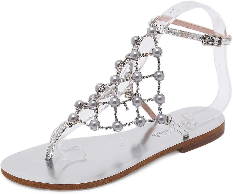 Maeshow Summer Beach shoes Flats Pear Rhinestone Clip Toe Flat Sandals Womens Flats Casual Wedding shoes Big Size