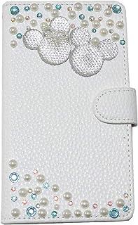 【ACHURA】 Xiaomi Redmi Note 9S 合皮 レザー 携帯 ケース 鏡 ミラー 付 スマホ カバー デコ キラキラ ストーン貼り 白色 ホワイト 可愛い 人気 女性用 手帳型 人気 カード収納 横型 保護 フィルム 付