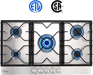 Gas Cooktop, Gasland chef Stainless Steel Built-in 5 Burner Gas Cooktops, Gas Stove Top, LPG Natural Gas Hob, ETL Safety Certified, Thermocouple Protection, Easy To Clean