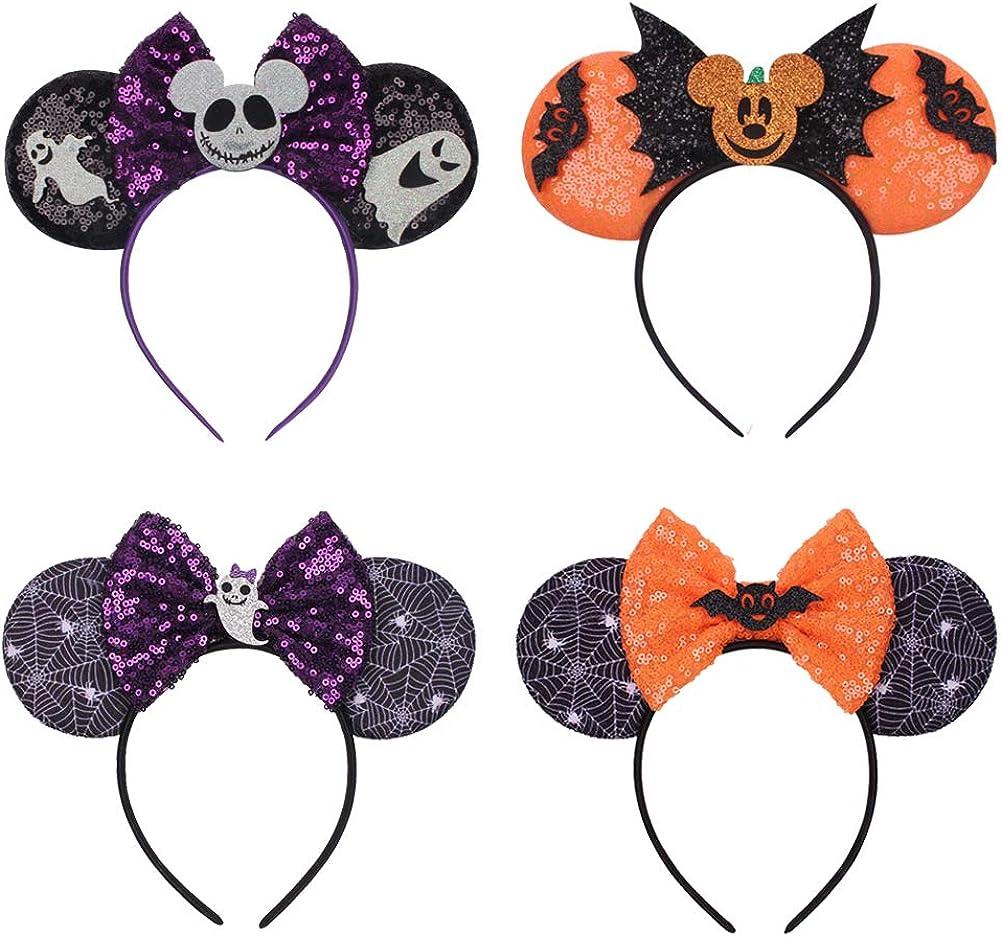 Halloween Mouse Ears Headbands & Bows for Girls Women,Cute Magic...