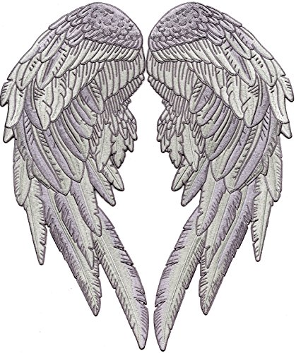 Angel Wings Patches | 3D Feathers Festival Patch | Embroidered Iron On | Large 2pc. Set - by Nixon Thread Co. (14.5')