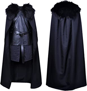 Jon Snow Costume Halloween Knights Watch Cosplay Cape Cloak Outfit for Men
