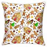 XCNGG Funda de almohadaEuropean Modern Minimalist Abstract Pattern Throw Pillow Seamless Pattern Christmas Cookies Gingerbread Man Pillow Decoration Set 18 X 18 Inches