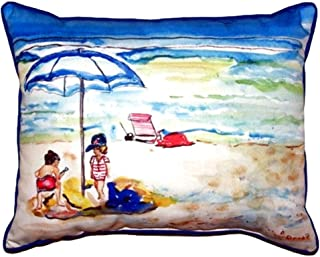 """Betsy Drake SN391 Playing On The Beach Pillow, 11"""" x14"""""""