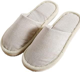 Baotou Cotton Slippers Retro Wooden Floor Carpet Non-Slip EVA Home Couple Men and Women Slippers Warmer Soft Plush Home Shoes (Color : Beige, Size : 41-43 Yards)
