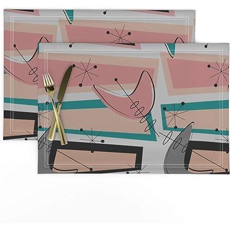 Cloth Placemats Atomic Boomerangs Boomerangs Atomic Space Age Mid Set of 2