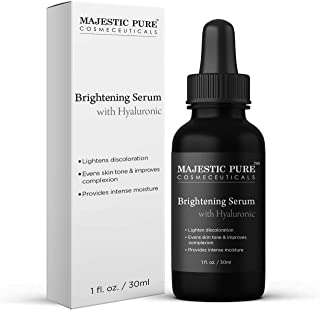 Hyaluronic Acid Serum for Face - Skin Brightening Advanced Formula by Majestic Pure - Hydration and Facial Moisturizing - Premium Facial Serum for Anti Aging and Anti Wrinkle Support - 1 fl oz