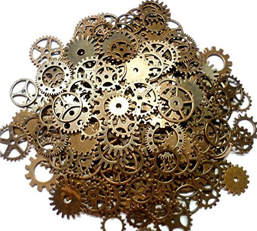 Meterial: Metal.Size: Mixed 12mm-28mm. Quantity: A bag*100g, approx 80pcs. Great DIY gift for your friends,lovers or yourself. Vintage Gears Wheels Cogs Jewellery Making DIY Crafts, Perfect for scrapbooking project, necklace pendant drop,Mobile phone...