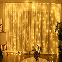 Yinuo Candle Window Curtain String Light 8 Modes 300 LED Fairy Light Wall Decorations for Christmas, Festivals, Wedding, Party, Home, Garden, Bedroom, Outdoor or Indoor Decoration, Warm White