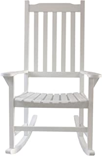 ALI VIRGO Classic Rocking Chair Outdoor, Porch Log Traditional Stool, Ergonomics Antique Lawn Leisure for Lounge/Garden/Patio Furniture, White