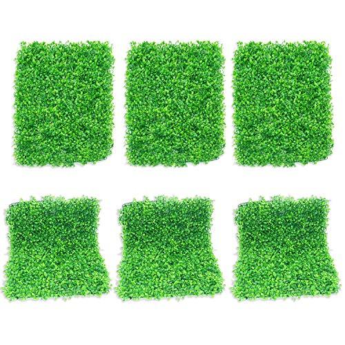 ColouredPeas Grünes Gras, Wanddekoration, künstliche Buchsbaumhecke, Wandpaneele, UV-Schutz, 6 Stück, 40,6 x 61 cm, grüner Efeu, Sichtschutz, Zaun, Wandhintergrund für Gärten, Hinterhof-Dekoration