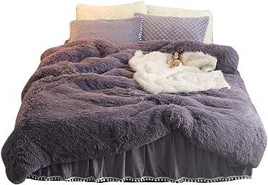 MorroMorn Shaggy Duvet Cover - Luxury Super Soft, 1PC(1 Long Faux Fur Duvet Cover) (California King, Purple Grey)