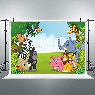 Riyidecor Jungle Safari Backdrop Zoo Cartoon Animals Wildlife Kids Colorful 7Wx5H Feet Forest Green Photography Background Decorations Baby Birthday Party Photo Studio Shoot Backdrop Vinyl Cloth