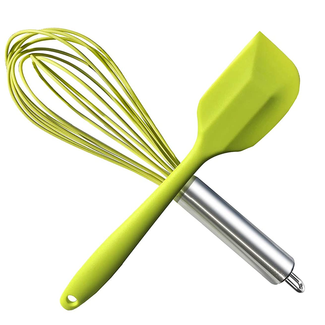 HauBee Kitchen Wire Balloon Silicone Whisk Set 600oF Heat Resistant Non Stick Rubber Stainless Steel Seamless Design Baking Cooking Spatulas Tools (2 Pack,Green),