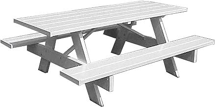 Dura-Trel, Inc. Picnic Table w Benches in White Finish (72 in.)