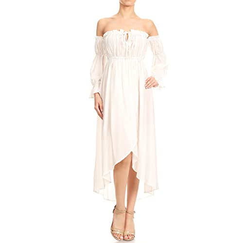 034243dc6f5f Anna-Kaci Womens Casual Boho Long Sleeve Off Shoulder Renaissance Peasant  Dress