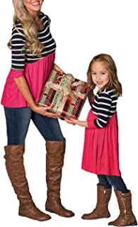 Parent-Child Shirt Dress Family Clothes Outfits Mommy Me Matching Dress Long Sleeve Round Neck Striped Tunic Tops