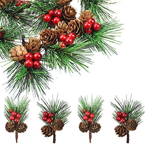 HQdeal 12pcs Beeren Picks Künstliche Tannenzweige,Weihnachtsbaum Kiefernzweige Pin Picks mit rote Stechpalme Beeren Kiefernzapfen Zweige für Weihnachtsschmuck Arrangement Home Geschenk Kamin Tischdeko