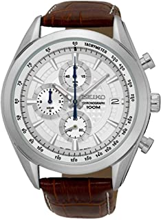 Chronograph SSB181 Silver Tone Dial Brown Leather Band Men's Watch