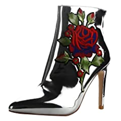 7aedee623de2 CAPE ROBBIN Women s Closed Pointed Toe Embroidered Stiletto H ..