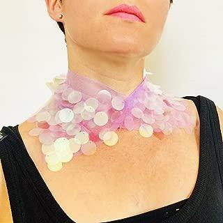 Symbol Superstar Neckband - lila Kragen Pailletten - Hologramm Kleidung - böhmische Halskette - Frauen Halsband - Festival Party Outfit - Geschenk für sie