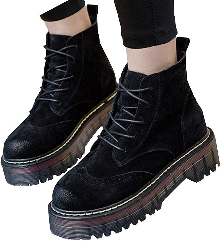 Qiusa Qiusa Damen Herbst Und Winter Leder Dicke Sohlen Warme Stiefel (Farbe   12, Größe   39EU)