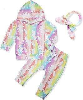 Newborn Baby Girls Boys Hoodie Tops and Pant Cute Sweatshirt Clothes Set with Pocket Headband 0-24M