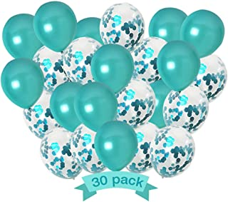 Holy Party Teal Turquoise Balloons and Turquoise Confetti Balloons for Party Decorations, Teal Decorations for Birthday - Wedding - Engagement - Graduation - Teal Party Supplies