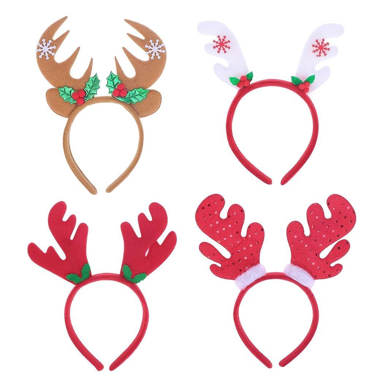五バルセロナにんじんLurrose 4ピースクリスマスヘッドバンドサンタ帽子トナカイアントラーヘッドバンドヘアフープヘッドドレス帽子クリスマス衣装ヘアアクセサリー用大人の子供女の子